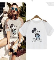 European Style New Mickey Mouse Fashion Women T-Shirt Summer Sequin Embroidery Brand T Shirt Cotton Short-Sleeved Mesh Zarao2014