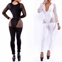 BLM4056 Ladies women vintage hole mesh sexy club wear evening summer bodycon jumpsuit rompers bodysuit overalls long pant