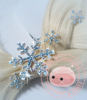 2014 Free Shipping Frozen Snow Queen Elsa Blonde Weaving Braid Cosplay Hair Clips 6 pieces 1 big +5 Small Cosplay Snow Clips