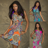 2014 Free Shipping New Fashion Women Summer Print Vintage M, XXL Size Party Evening Mini Dress