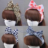 w bowknot silk rabbit ear color option Hairband tie hair hoop tools Maker band forehead hair decoration head whcn+