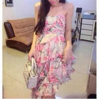 Aestheticism strapless, irregular multilayer chiffon flowers  super fan strapless dresses