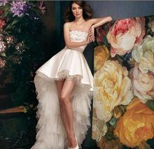 Most Popular Top Grade Well Price Knee Length Silk Tafftea Wedding Dresses Custom Made +2+4+6+8+10+12+14+16+++A1766(China (Mainland))