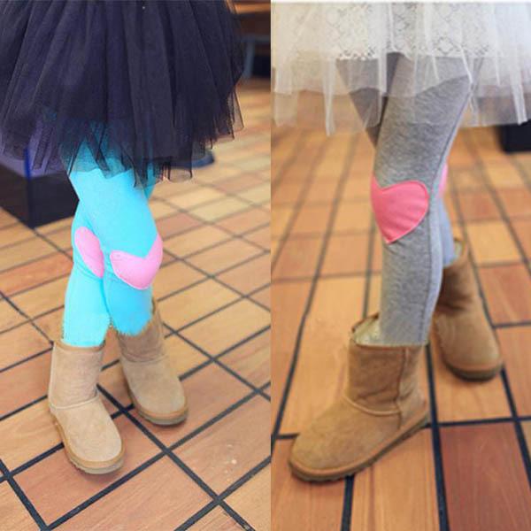Cotton Girls Korean Style Love Heart Patch Legging Children Kids Pants 4 Colors(China (Mainland))