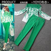 2014 New Women Tops & Pants One piece Set  Casual Sexy Slim chiffon harem pants shirt ankle length trousers #50t2