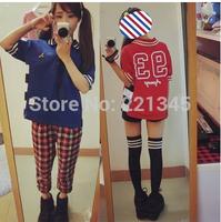 HOT! Ayumi new hit color rainbow loose  short-sleeved T-shirt tide
