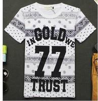 Letter 77  New 2014 Summer Couple women and men t shirt Hip hop Harajuku shirt Hiphop Punk Rock Fashion Loose Casual DJ-74