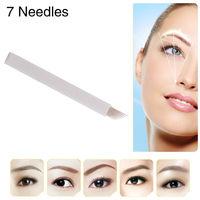10PCS JM611D-X4 Permanent Makeup Eyebrow Tattoo Needle Curved Blade 7 Needles Manual Eyebrow Needle Free Shipping