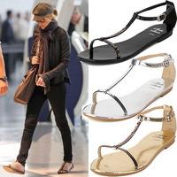 New 2014 summer women sandal Patent leather flip flops fashion Design flats shoes 35-40
