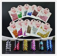 2014 New STZ packing  12 Colors Nail Art Decoration  Rhombus Paillette Glitter Nails Glitter 3D Slice Powder Set