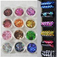 2014 New  4X2mm 12 Colors Nail Art Decoration  Rhombus Paillette Glitter Nails Glitter 3D Slice Powder Set  3g bottle packing