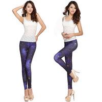 High elastic graffiti leggings / poetry autumn sky / Skinny Slim thin pantyhose/LS-112 + Free shipping