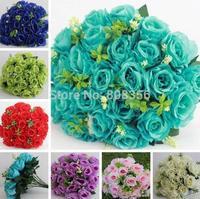 """HOT 40cm/15.75"""" Length Artificial Simulation Rose Flower Arches Wedding Bride Bouquet Seven Colors Twenty-four Flower Heads"""