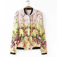 2014 Spring Autumn Fashion Stand Collar Long Sleeve Zipper Floral Print Women Short Jacket Coat Outerwear M,L WO-005