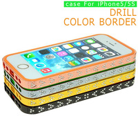 Newest diamond frame for Apple iphone 5 5s 5g for rubber bumper iphone 5s with Crystal Rhinestone combo case
