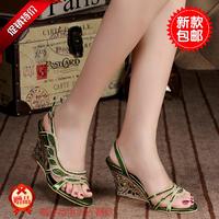 New 2014 hot-selling high-heeled heels summer rhinestone diamond flower sheepskin women's shoes female crystal slippers 34-43