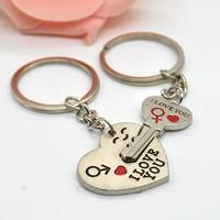 2014 New Couple I LOVE YOU Heart Keychain Ring Keyring Key Chain Lover Romantic Creative Birthday Gift New  FMPJ068