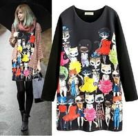 2014 new fashion Elastic thin section Space Cotton dress Cartoon cat star summer print dress spring autumn long-sleeved dress