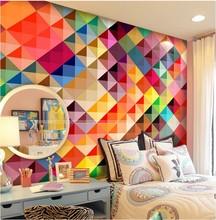 custom photo wallpaper Large living room sofa bedroom TV setting wall of modern art wallpaper Color grid  mural wallpaper(China (Mainland))