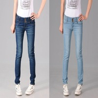 Free shipping Plus size female tight slim breasted high in the waist jeans skinny pants pencil pants
