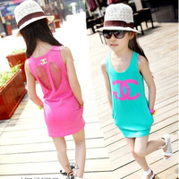 new 2014 summer  Korean version of casual girls double C hollow cotton candy colored vest dress