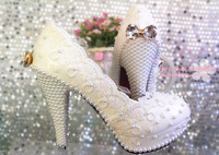 Elegant lace flower wedding shoes pearl bow shoes bridal shoes white single shoes pumps