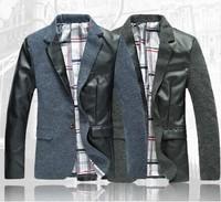 2014 Autumn Blazer Men Suit Male plus size blazer Outerwear Fashion Personality patchwork Plazer