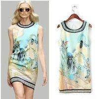 2014 new brand casual women summer new round neck sleeveless vest dress sexy dress Slim Printed dress