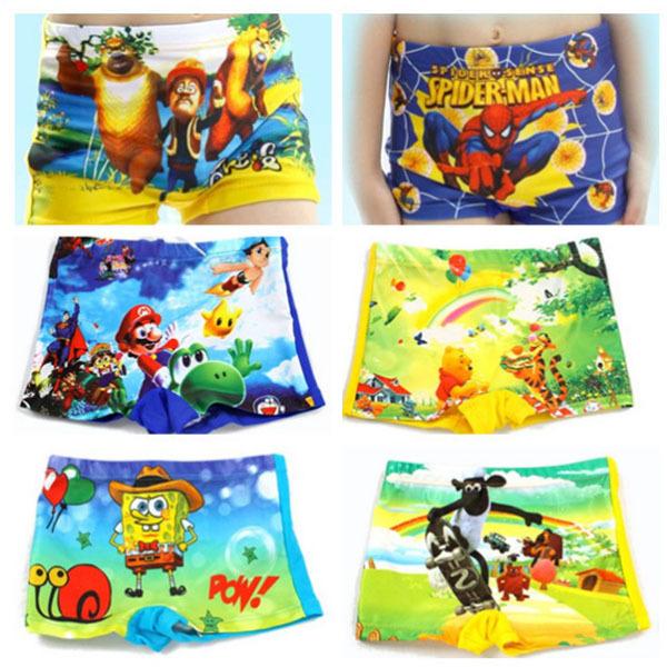 2014 New Summer Diving Swim wear Trunk Cartoon Spiderman spongebob Baby Kid Child Boys swimming trunks children swimwear shorts(China (Mainland))