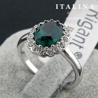 High Quality Platinum White Gold Plated Classic Oval Green Crystal Ring Promotion!