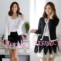 L-3XL Brief beaded lace rose buds long sleeve short jackets knitted cardigan women blazer tops outerwear office ladies wear 9128