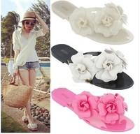 New 2014 summer camellia sandals for women flower flip flops fashion Design flats shoes