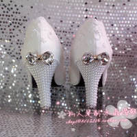 Lace flower white wedding shoes  pearl shoes bow bridal shoes bridesmaid shoes women pumps