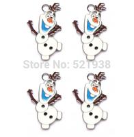 Hot sale , New 50 Pcs Frozen Olaf Snowman Enamel Metal Charms Jewelry Making Pendants Earrings