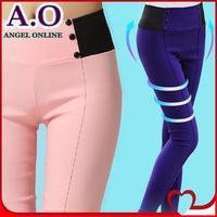 New 2014 summer spring fashion high waist women pants 10 candy colors elastic pencil pants plus size trousers S-XXL