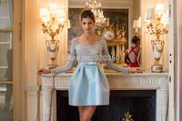 Zuhair murad 2014 A-Line Long Sleeves  blue short Lace Evening Dresses Gown