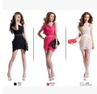 2014 oblique women's one-piece dress sexy slim hip slim chiffon dress