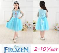 Free Shipping Newest  Frozen Dress 2-10T Kids Girl Summer Dress Princess Elsa Dress  Kids Birthday Dress