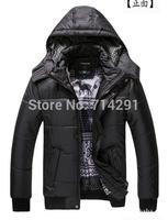 High quality new brand 2014 Winter men's winter jacket Men's Zipper Stripe Warm Cotton down Jacket Sports Coat M-XXXL black