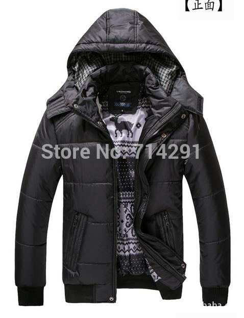 High quality new brand 2014 Winter men's winter jacket Men's Zipper Stripe Warm Cotton down Jacket Sports Coat M-XXXL black(China (Mainland))