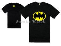 Free Shipping 1 PCS Brand Cartoon Batman T Shirt Men and Women O-Neck Short Sleeve Fashion Black/Yellow T-Shirts