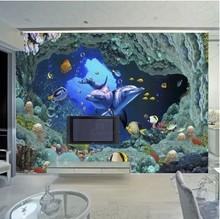 Custom photo wallpaper 3D stereoscopic wallpaper living room  TV background wall covering underwater world  3d mural wallpaper(China (Mainland))