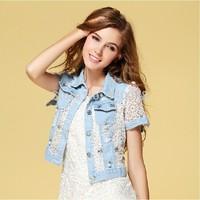 Free shipping 2014 summer short designer denim jacket patchwork hollow out lace short sleeve beading single breasted jacket