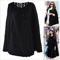 wool women outwear femininos winter coat blazer women jactets black bat sleeve streetwear winter Autumn black free shipping