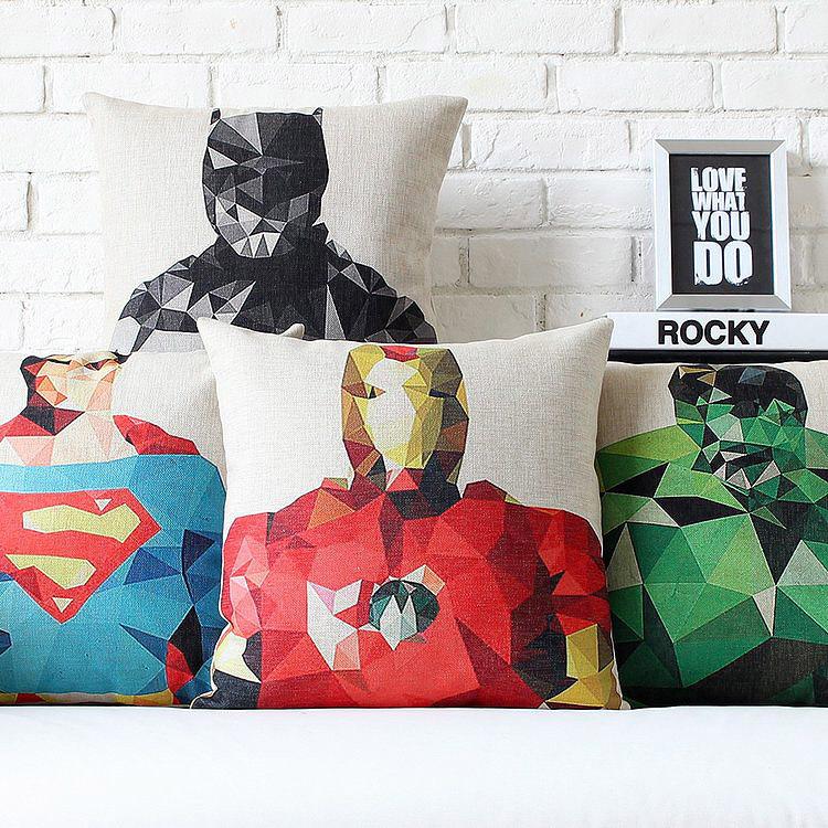 Superman, Batman, Green Giant ,American Captain, Iron Man, The Thor Anime Linen Cushion Cover Pillow Cover Free Shipping(China (Mainland))