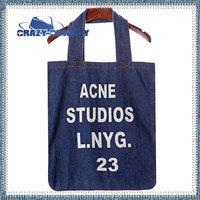 Hot selling big capacity dark blue cowboy vintage letters ance print ink washed denim canvas bag tote bags for women handbag