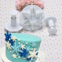 New 3Pcs/Set Snowflake Fondant Cake decorating tools Cupcake Kitchen fondant Kitchen accessories Cake mold Stand(China