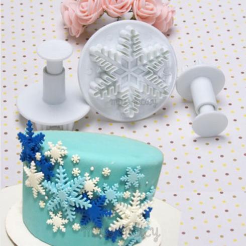 New 3Pcs/Set Snowflake Fondant Cake decorating tools Cupcake Kitchen fondant Kitchen accessories Cake mold Stand(China (Mainland))