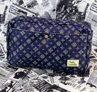 Elegant blue black plaid quality cosmetic bag storage bag
