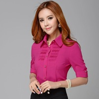 2014 new fashion half sleeve chiffon blouses formal work wear slim shirts blouses women's tops famous design shirt